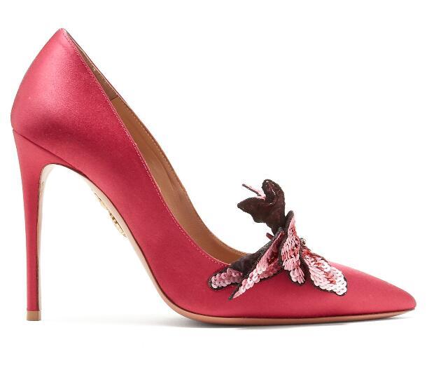 Pointu Sexy Pompes Silver Paillettes Dames De Slip Chaussures Peu Tissu on Talons red Minces Profonde Femmes Fleur Bout Bling Argent À Mode Chaude rouge iTZuPXwOk