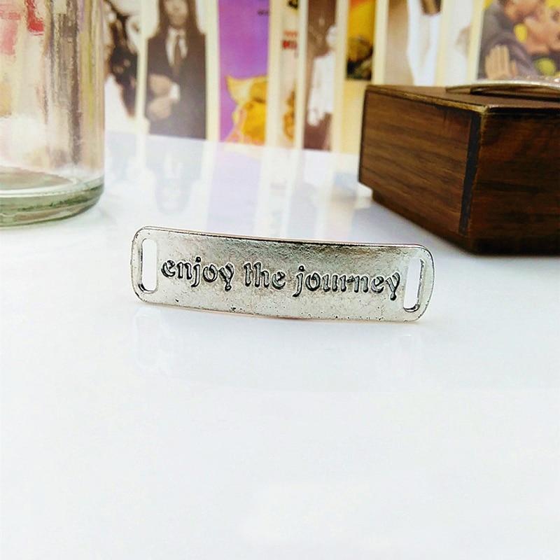 5pcslot Antique Silver Plated Charm Lettering enjoy the journey Charm Pendants For Necklace Bracelet DIY Jewelry Accessories