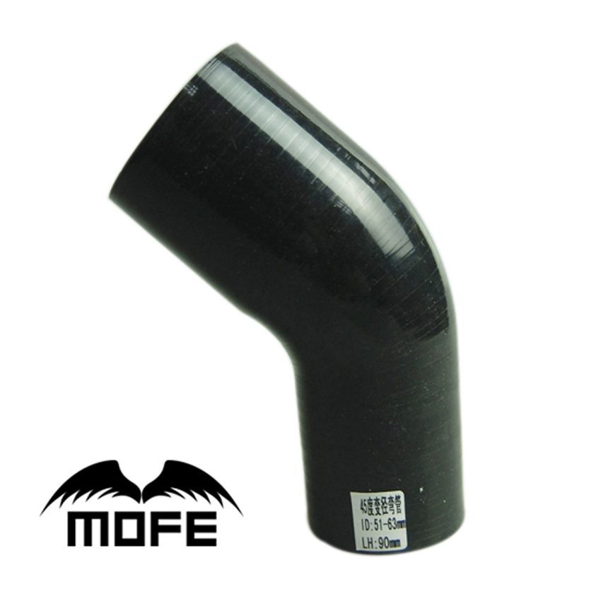 Mofe Car Silicone Hose 5pcs Black 45 Degree Elbow 3ply 2