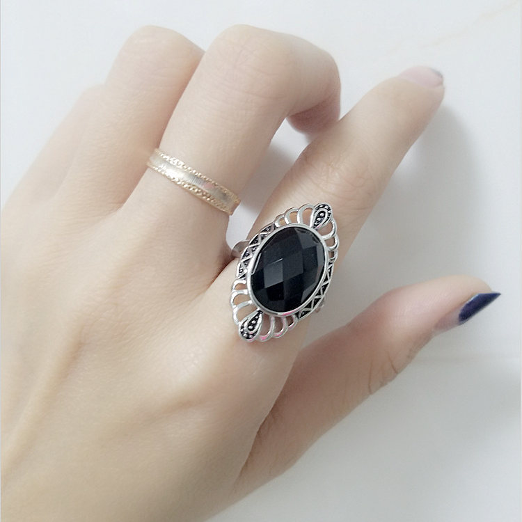 Vintage Thai Silver Wide Finger Ring For Women Natural Grid Black Onyx Stone 100% Real 925 Sterling Silver Cuff Ring Female Gift 925 pure silver jewelry vintage green natural stone thai silver female royal wind ring rich