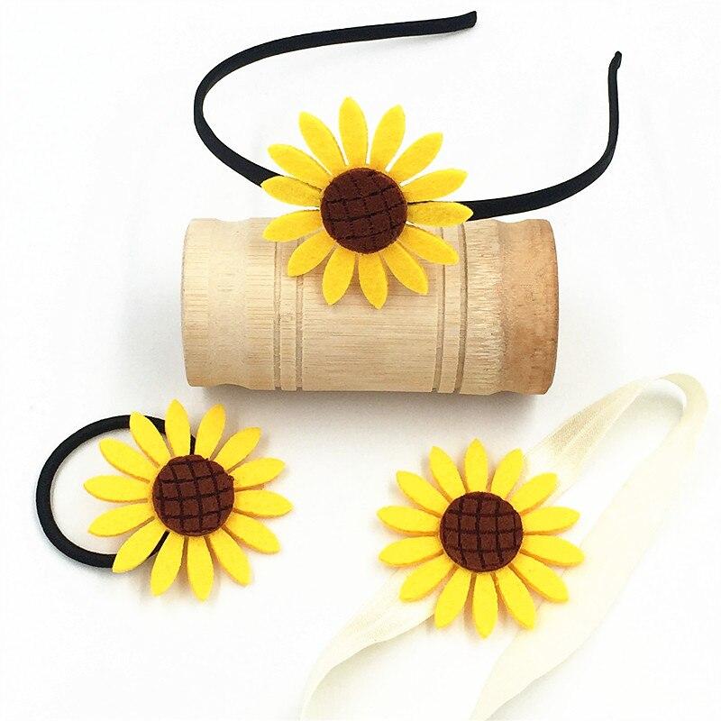 3 шт./пакет для девочек; Резинка для волос, обтянутая тканью; С изображением подсолнуха, повязки для волос, головной обруч для новорожденных и...