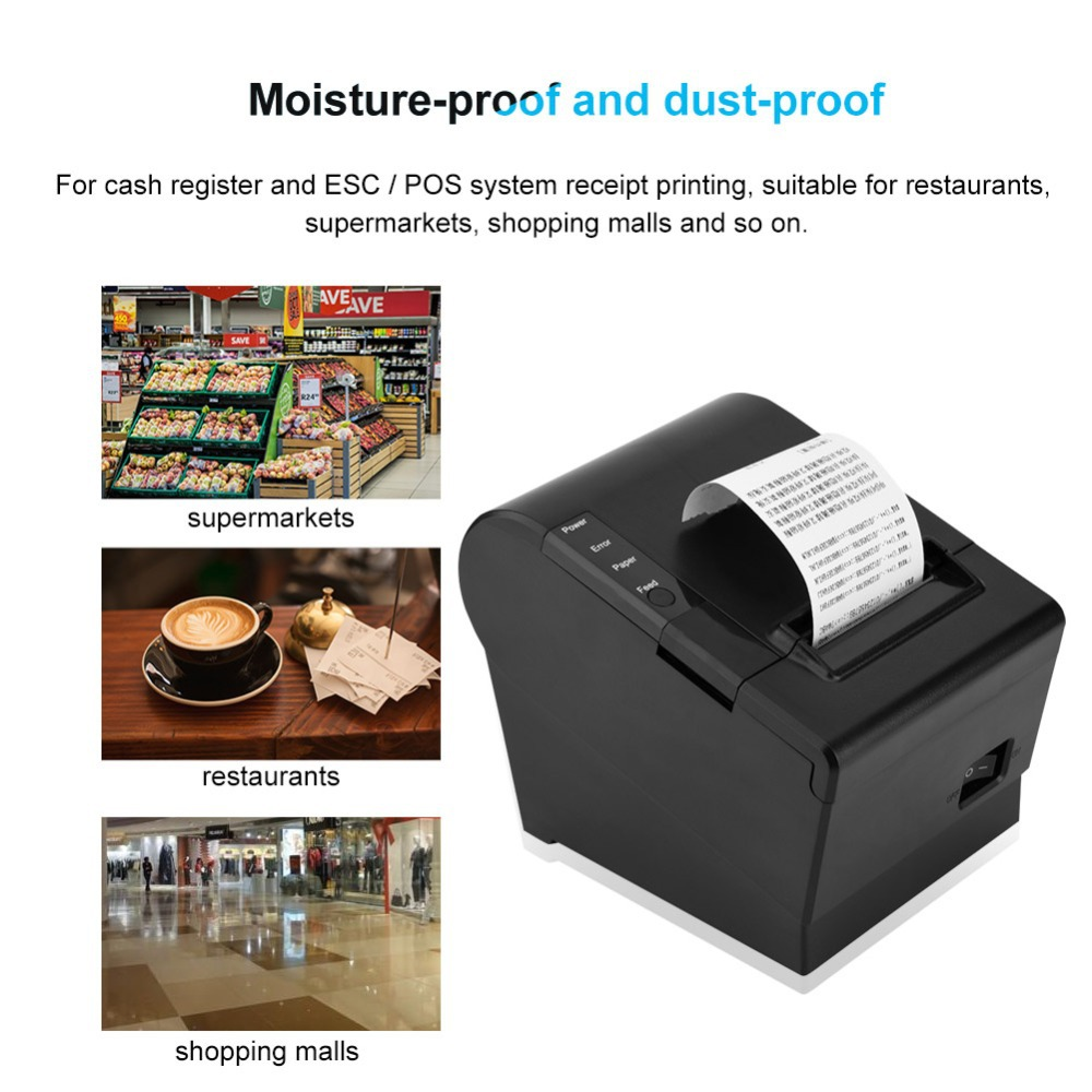 GOOJPRT Desk POS 80mm Thermal Printer Kitchen Auto Cutter Printer Ethenet / USB+Serial / Lan / Bluetooth de Impresora Escritorio