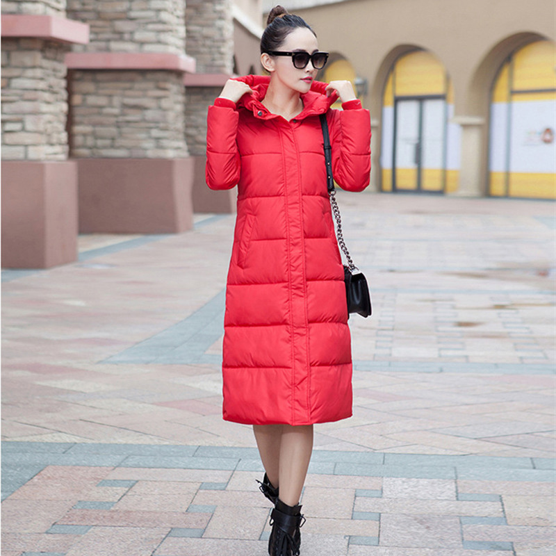 Winter Long Jacket Women Hooded Solid Color   Parkas   Warm Female Jacket Padded Cotton Jaqueta Feminina Inverno Maxi Coats MZ2900