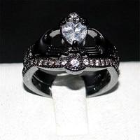 Choucong Claddagh In Possesso di Cuore di amore 5a Zircon Crown Wedding Ring Set 10KT Black gold filled Monili Di Cristallo bianco regalo