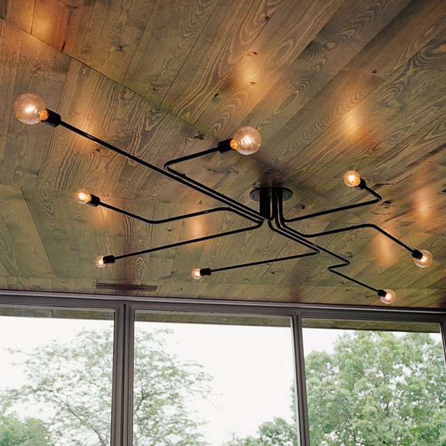 US $49.6 20% OFF|Decke lichter mit lampe vintage eisen decken lampe  lamparas de techo wohnzimmer schlafzimmer cafe bar küche licht decke  beleuchtung ...