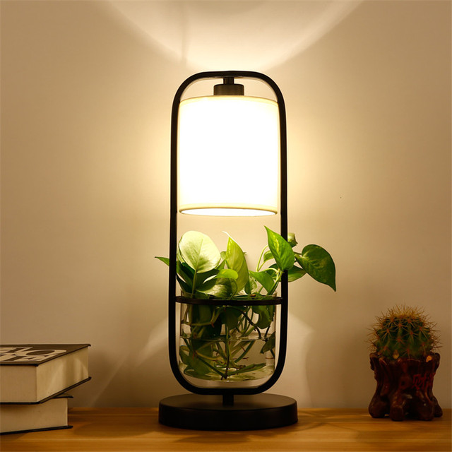 Fashion Nordic Bedside LED Glass Plant Table Lamp,Modern Office Study Table  Light Fabric Art