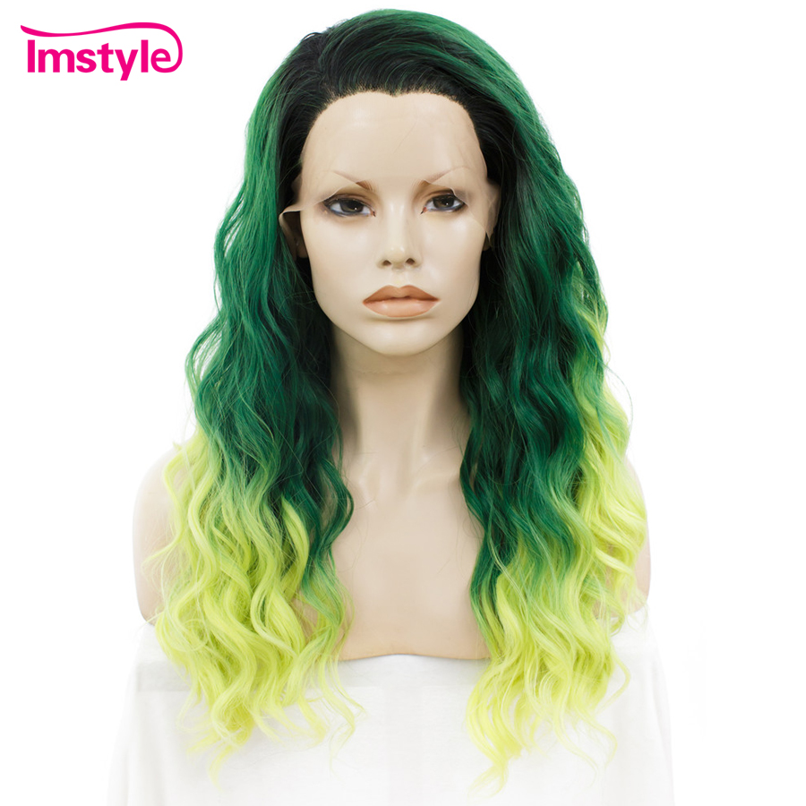 Imstyle Lace Front Wigs Curly Ombre Color Wigs For Women Three Tone Heat Resistant Fiber Synthetic