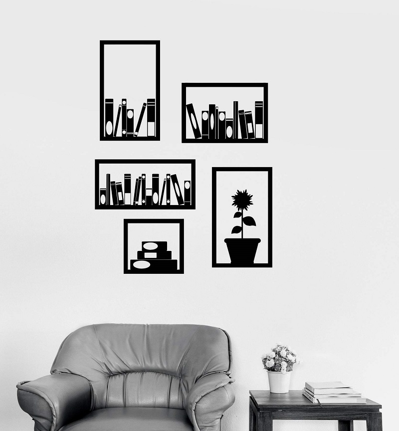 Vinyl wall decals office bookshelf interior decoration room school classroom library office stickers 2BG12(China)