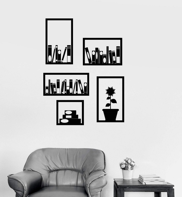 Vinyl wall decals office bookshelf interior decoration room school classroom library office stickers 2BG12