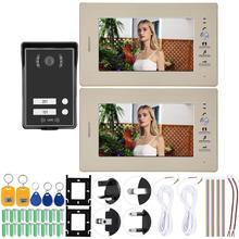 110-240V HD 7inch Video Intercom 2 Monitors Doorphone System Smart Access Door Camera
