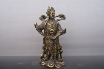 Chinese old bronzes God of heaven wei tuo copper Statue