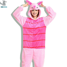 HKSNG Unisex Animal Adult Pink Pig Pajamas Flannel Cartoon Family Party Onesies Cosplay Costumes Sleepwear Kigurumi