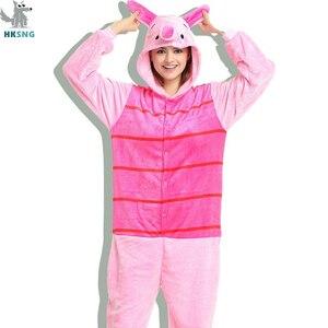 Image 1 - HKSNG Unisex hayvan yetişkin pembe domuz pijama pazen karikatür aile partisi Onesies Cosplay kostümleri pijama Kigurumi