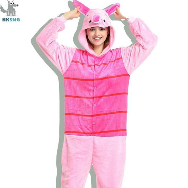 HKSNG Unisex hayvan yetişkin pembe domuz pijama pazen karikatür aile partisi Onesies Cosplay kostümleri pijama Kigurumi