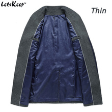 Winter Woolen Men Slim Fit Overcoat Windbreaker Trench Coat