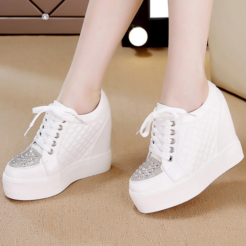 Platform Sneakers 2019 Fashion Rhinestone Chunky Sneakers Solid White/black Casual Shoes Women Baskets Femme