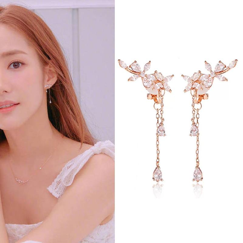 New Fashion Women Korean TV Star CZ Zircon Flower Drop Earrings Elegant Water Drop Long Earrings Wedding Party Jewelry Gifts