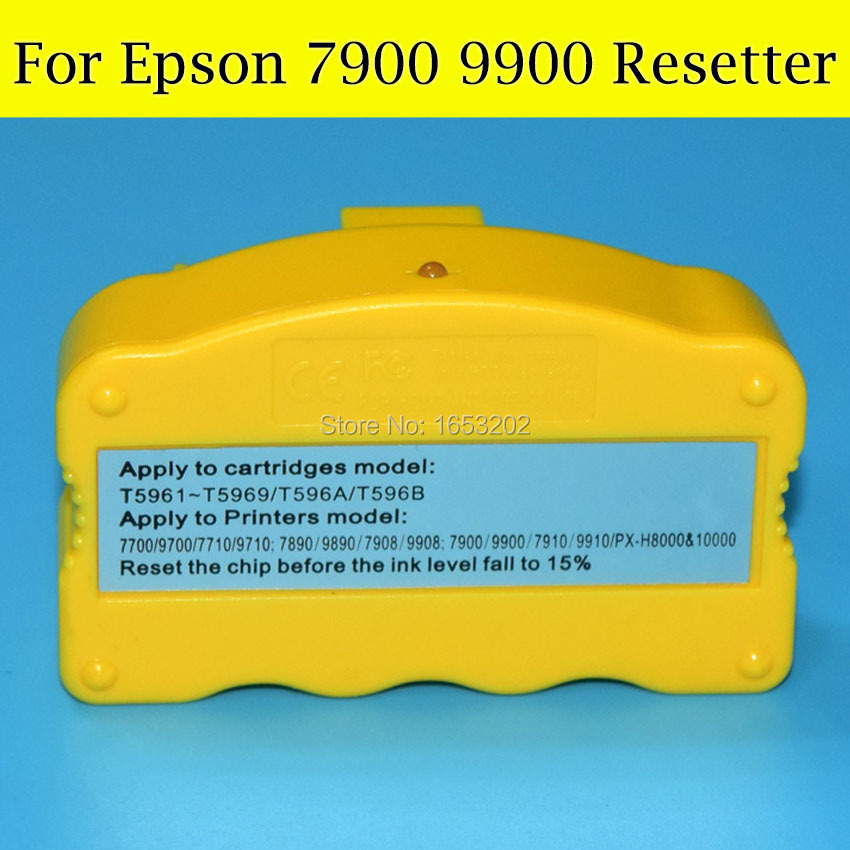 1 Piece Chip Resetter For Epson 7900 9900 Original And Refill Ink Cartridge For Epson T636 T596 T636A  T596A cs dx18 universal chip resetter for samsung for xerox for sharp toner cartridge chip and drum chip no software limitation