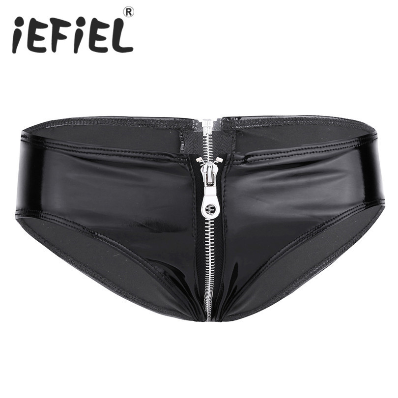 Sexy Women Lingerie Shiny Patent Leather Zipper Crotch Low Rise Bikini Briefs Underwear Underpants Clubwear Nightwear Clothes