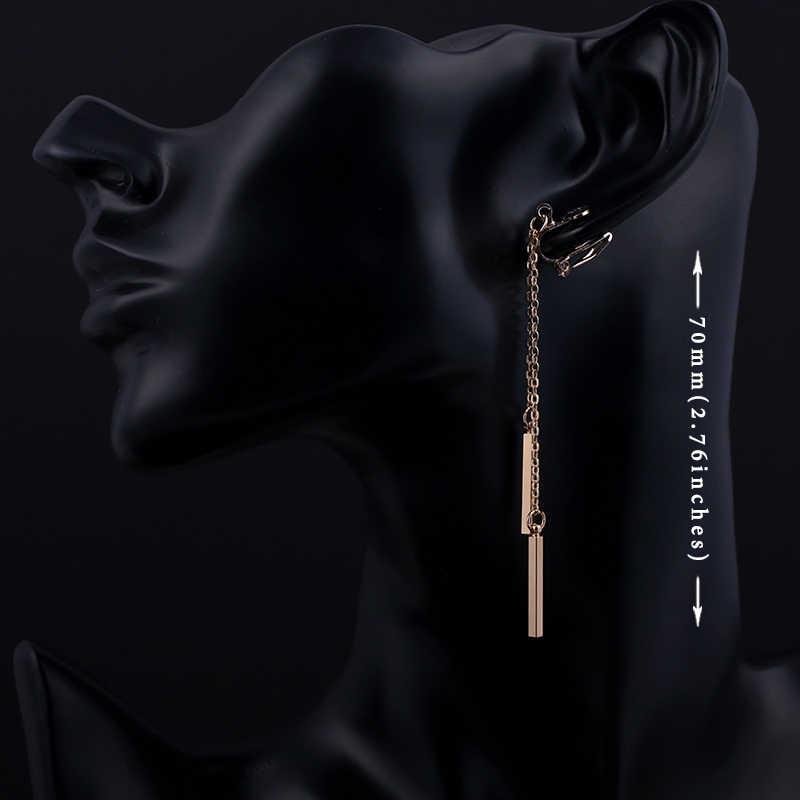Strip Logam Anting-Anting Tidak Ada Lubang Telinga Klip Minimalis Logam Jumbai Klip Pada Anting-Anting Tidak Menusuk Wanita Panjang Anting-Anting Perhiasan CE109