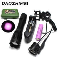 IR 850nm 5w Night Vision Infrared Zoomable LED Flashlight TorchCamping ON/OFF Mode With Gun Clip+Dual mode Remote Pressure Switc