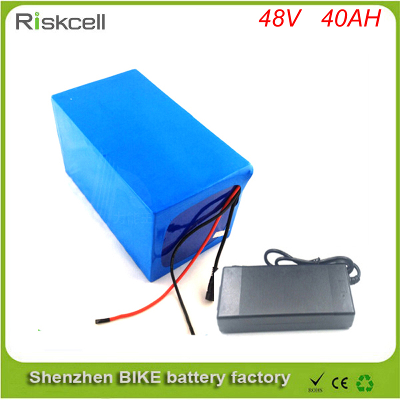Free customs taxes 48V 40AH Portable Lithium Battery with 2000W BMS Chargrer E-bike Electric Bicycle Scooter 48V Lithium battery free customs taxes high quality skyy 48 volt li ion battery pack with charger and bms for 48v 15ah lithium battery pack