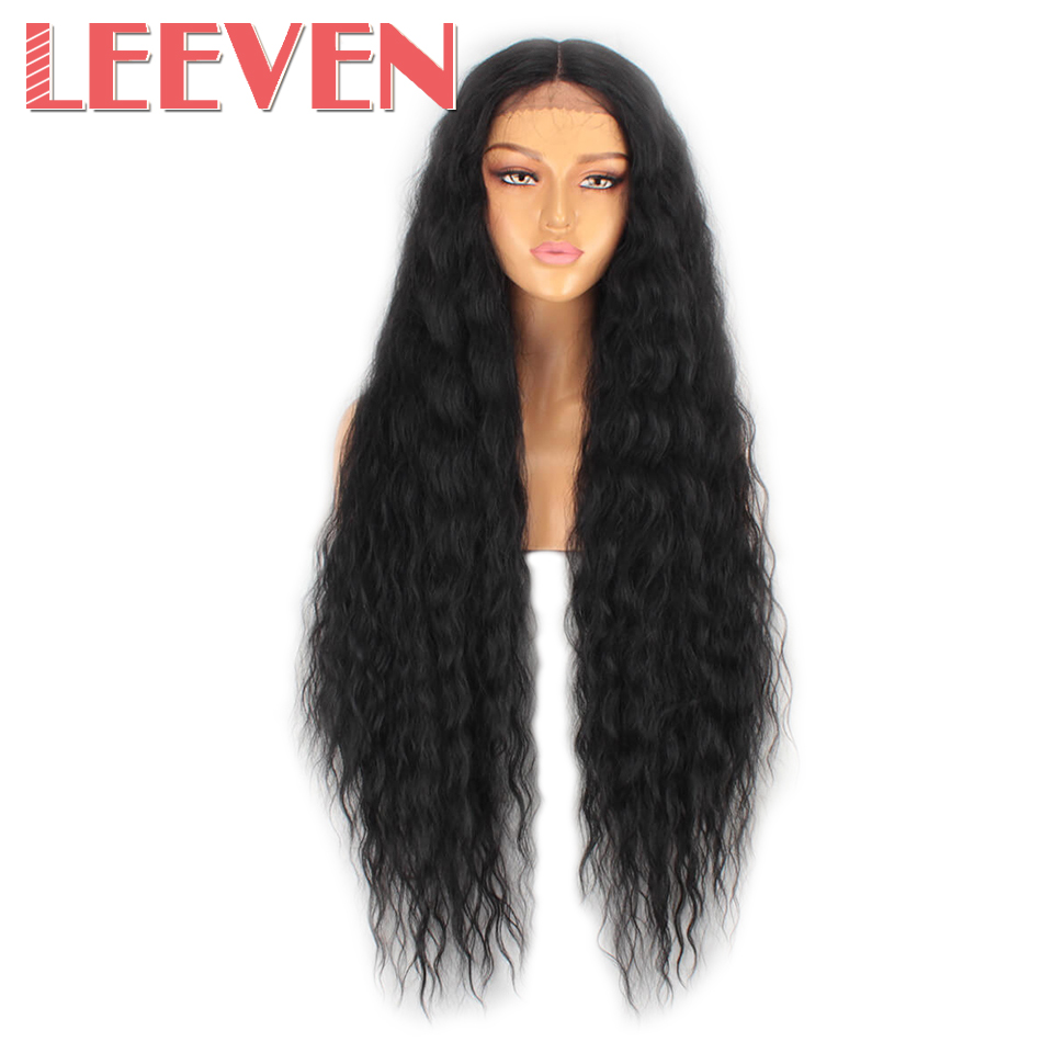 Leeven 40inch Synthetic Lace Front Wig Black Water Wave Wig For Woman Long Hair Wigs Black 613 Blonde Lace Front Wig