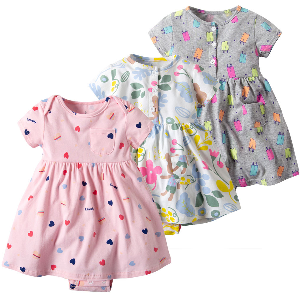 2019 Baby Girl Summer Dress Toddler Kid Clothes Short Sleeve Floral O-neck Cute Dress Princess Romper Dresses Clothes