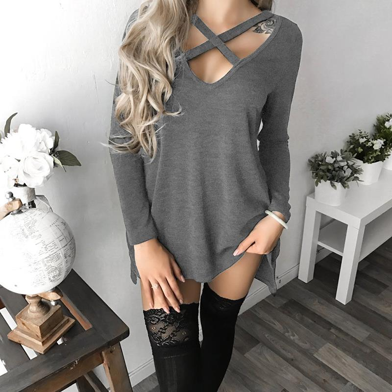 Women Causal Dresses Long Sleeve V-Neck Hollow Out Sexy Party Dress Women Lace Up Dress Lady Clubwear Black Friday Deals WS4517X