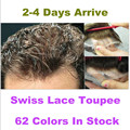 "Free shipping 62 Colors Good Qulity Toupee Swiss Lace--6"" Slight Wave Medium Light Mens Hair Piece Toupee Cut for any size"