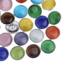 10Pcs Mixed Colors Opal Synthetic Click Charm Snap Buttons Press Round 18mm