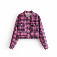 ASDS Women Vintage Plaid Coat Pockets Double Long Sleeve Caot Retro Ladies Casual Outerwear Loose Top WWT52506