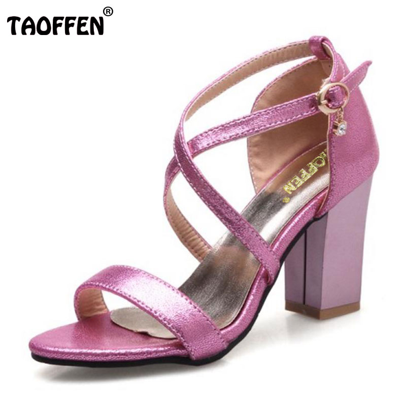 TAOFFEN Size 32-43 Women High Heels Sandals Lady Thick High Heels Shoes Women Open Toe Slip On Shoes Female Soft Footwear taoffen women shoes women sandals wedge heels platform summer shoes leopard slip on slippers trend fashion shoes plus size 33 43