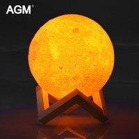 AGM 3D Print Moon Lamp LED Night Light Luna Magic Touch Full Moonlight Portable 2 Colors