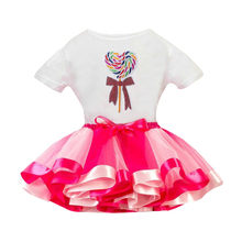 2PCS Girls Printing T Shirt + Girls Skirt Tutu Party Skirt Outfits Sets girls clothes 6 years 0430(China)