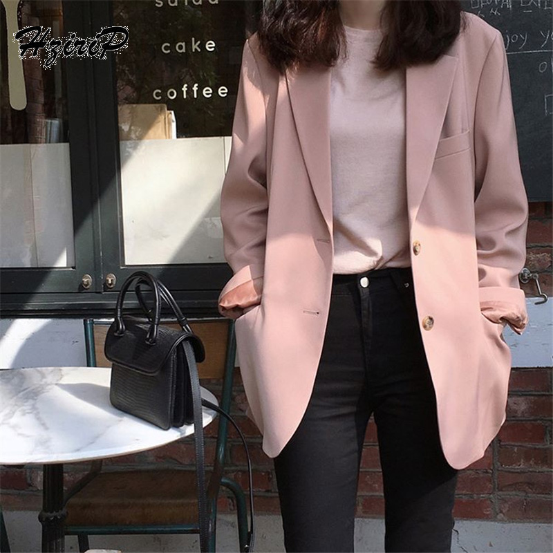 HziriP Korea Chic 2018 Women Blazers And Jackets Autumn Long Sleeve Solid Single Breasted Work Wear Pocket Office Outwear Blazer