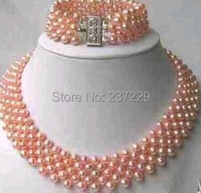 Prix de gros livraison gratuite ^ ^ charme bijoux rose collier de perles / bracelet