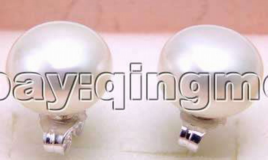 SALE Big 11-12mm Natural White Flat Freshwater high quality Pearl Earring and Silver 925 stud-ear245 wholesale/retail Free ship