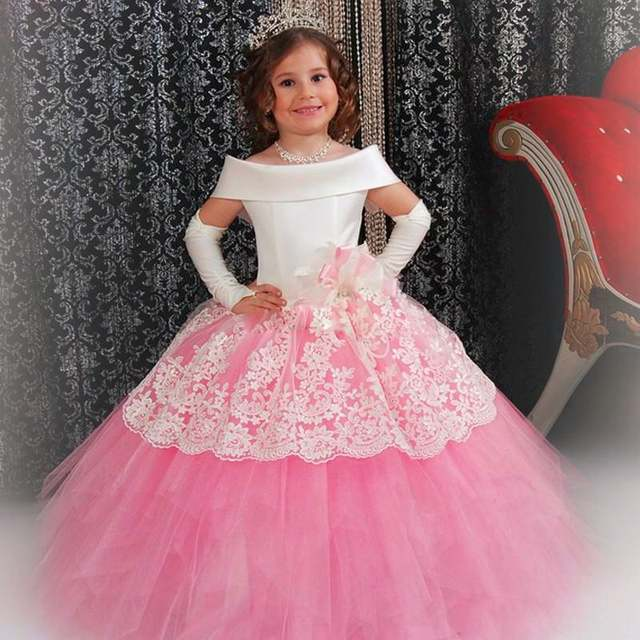 a3ec94268579 Online Shop 2017 first communion Pink and White Flower Girl Dress ...