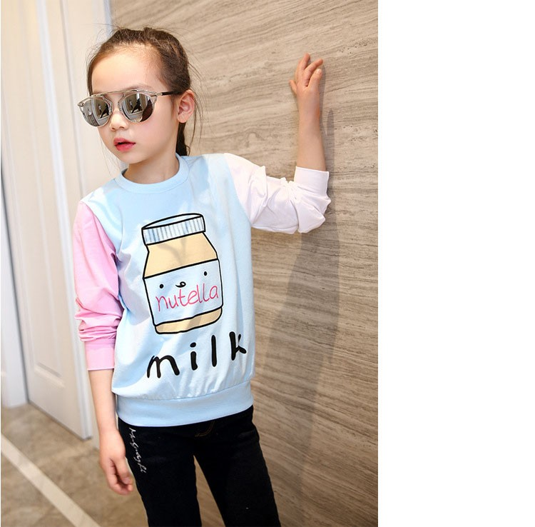 little teenage girls t-shirt character girls tops blue white pink patchwork tees girl tshirt 2016 spring autumn kids clothes  6 7 8 9 10 11 12 13 14 15 16 years old big little teenage girls long sleeve t-shirts children clothing (5)