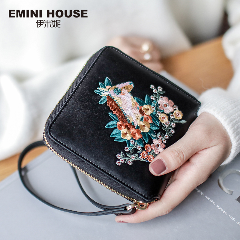 EMINI HOUSE Embroidery Wallet Women 2018 Purse Female Women Wallets Luxury Brand Wallets Designer Purse Wallet For Credit Cards multifunctional wooden chalkboard animal magnetic puzzle whiteboard blackboard drawing easel board arts toys for children kids