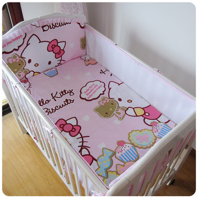 ФОТО Promotion! 5PCS Mesh Kitty Crib Baby Bedding Set for Crib Newborn Baby Bed Linens for Girl Boy Bumper Sheet,(4bumpers+sheet)