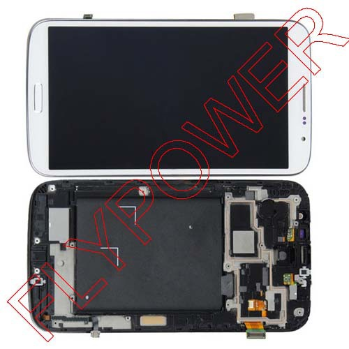 5pcs/lot For Samsung Galaxy Mega 6.3 i9200 I9205 LCD Display with white Touch Screen Digitizer +frame Assembly by free DHL