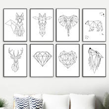 Geometry Diamond Fox Deer Bear Wolf Wall Art Canvas Painting Nordic Posters And Prints Pictures For Living Room Home Decor