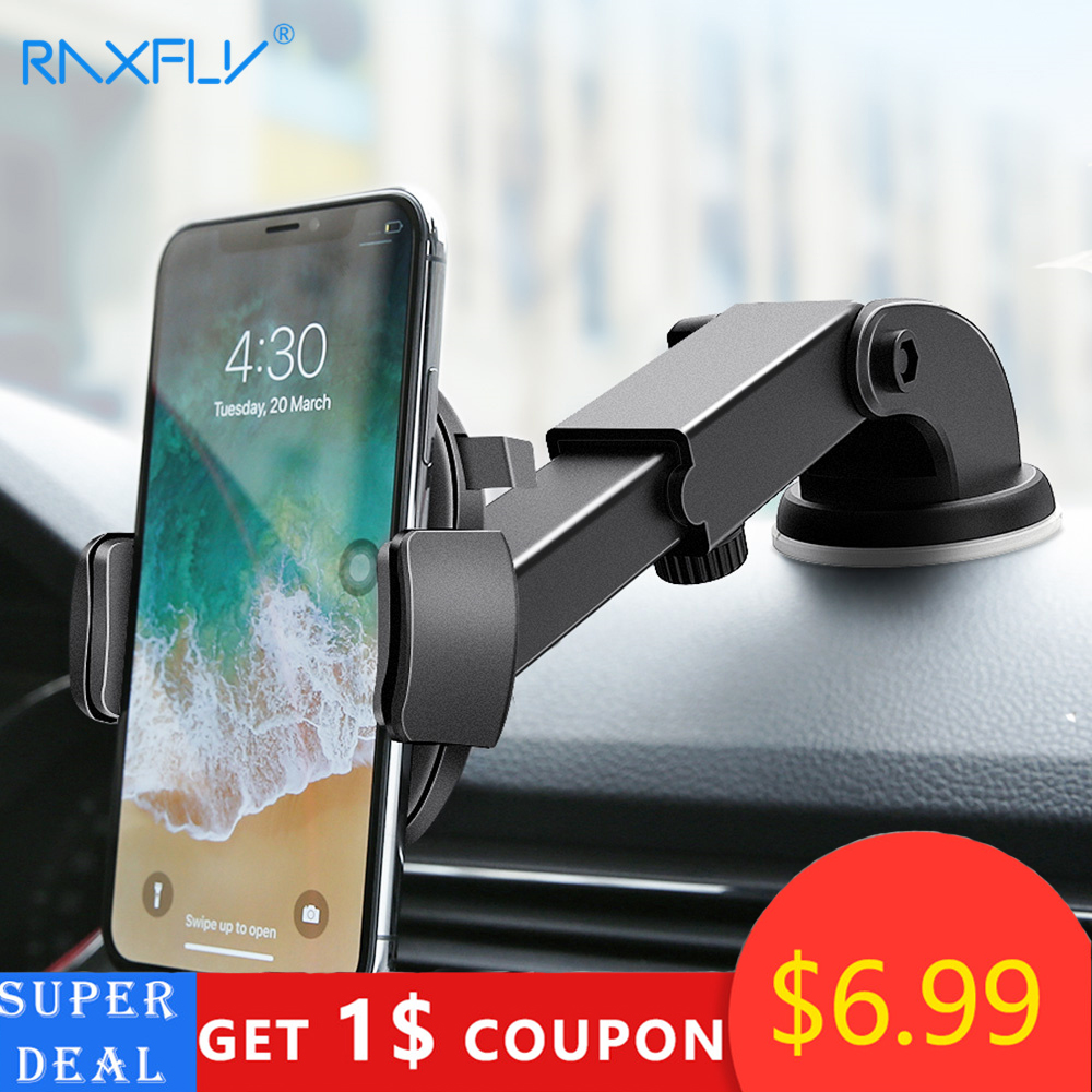 RAXFLY Luxury Car Phone Holder For iPhone X XS 8 7 Plus Windshield Car Mount Phone Stand Car Holder For Samsung S9Telefon Tutucu(China)