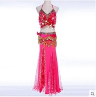 New Style Belly Dance Costumes Senior Sexy Sequins Bra Top Skirt Coins Belt 3pcs Belly Dance