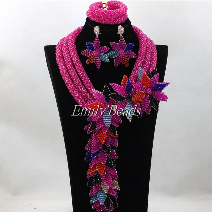 Nigerian Fuchsia Pink Beads Jewelry Set Indian Bridal Jewellery Set African Wedding Beads Necklace Set Free Shipping ALJ141