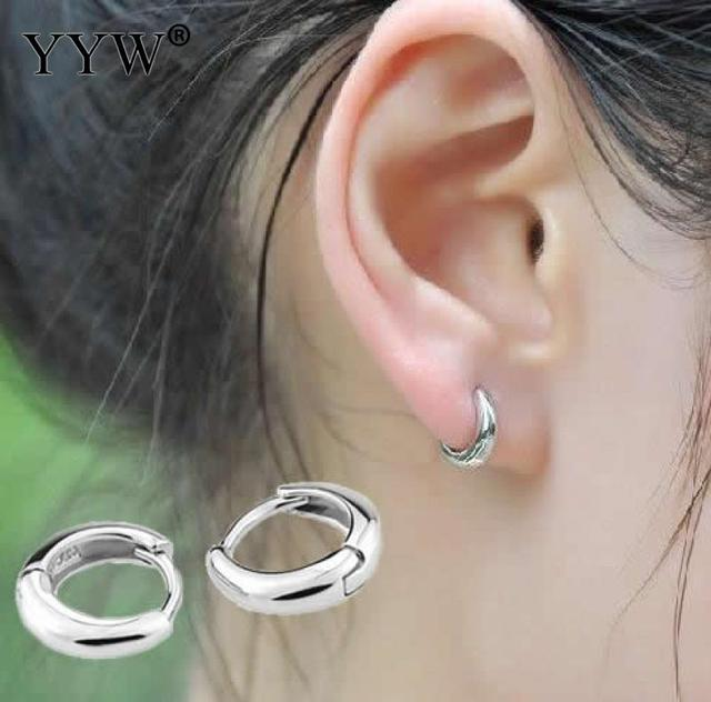 1 Pair Fashion 925 Sterling Silver Hoop Earrings Jewelry Women Man Punk Style Small Loop