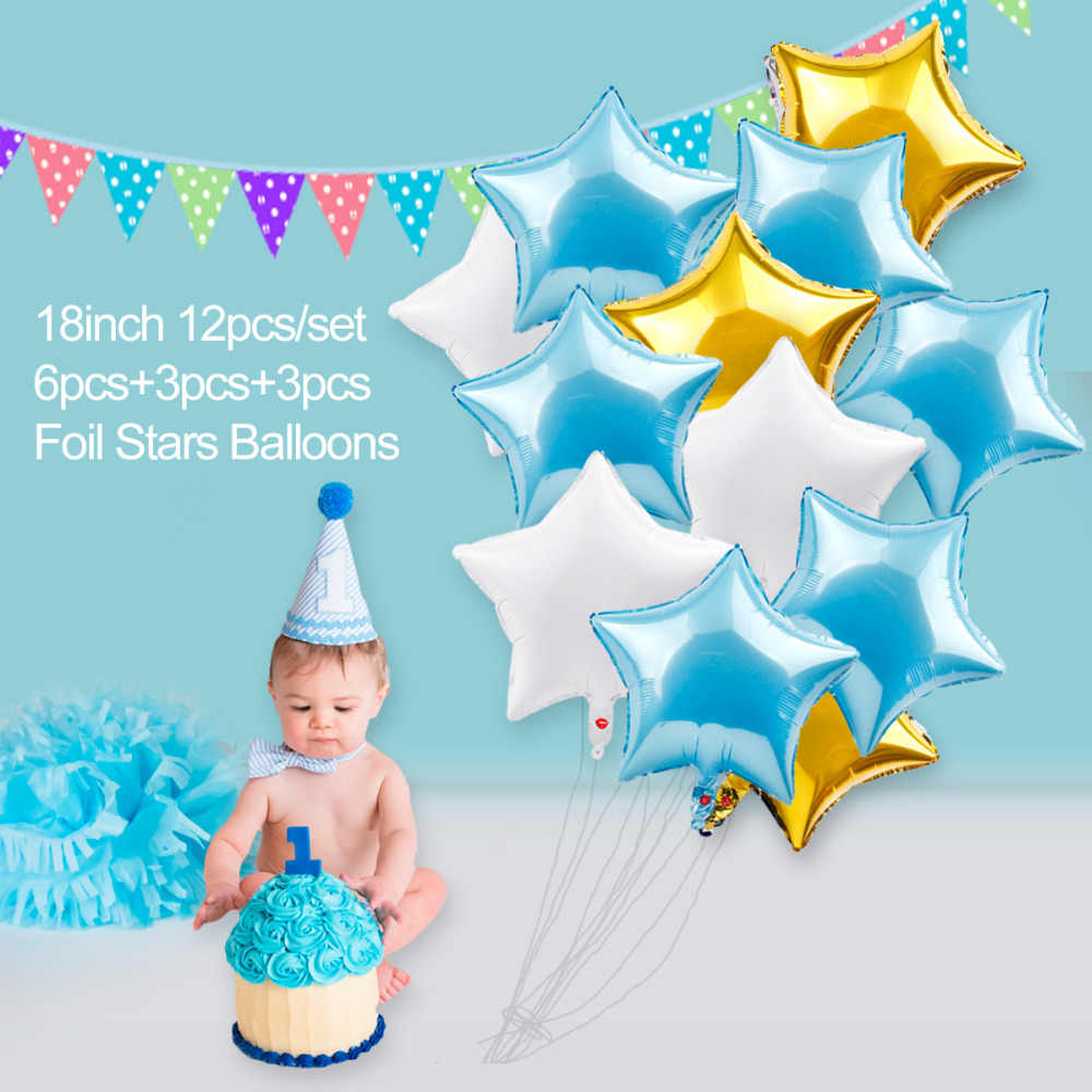 QIFU 1 Birthday Boy 1st Party Decorations Kids My First Blue Decor Foil