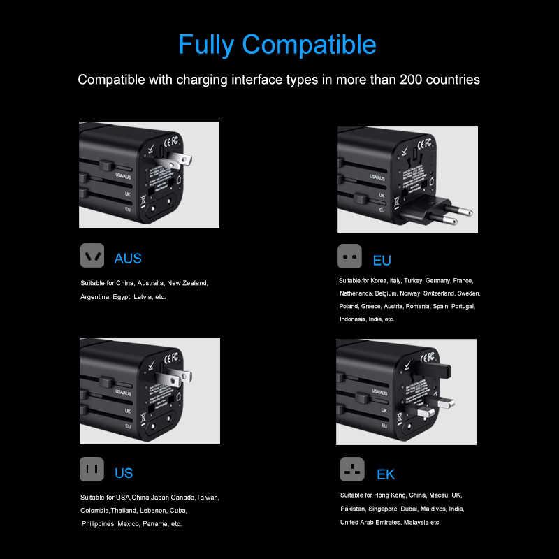 Elough شاحن عالمي نوع C شاحن السفر مقبس USB شحن سريع الاتحاد الأوروبي الولايات المتحدة المملكة المتحدة الاتحاد الافريقي الولايات المتحدة التوصيل ل USB متعدد المنافذ الهاتف المحمول محول